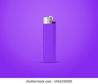 Purple lighter isolated on purple background with clipping path. Disposable plastic lighter. Surface closeup for your design. Blank gas cigar-lighter mockup element. 3d illustration.