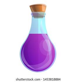 Purple magic potion icon. Cartoon of purple magic potion icon for web design isolated on white background