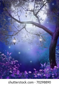 Purple meadow with a fairy tree