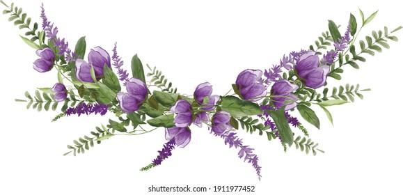 Purple Meadow Spring Summer Flowers Wreath