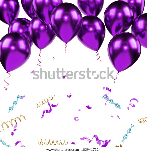 Purple metallic baloons on the upsteirs with golden confetti isolated on white background. 3D illustration of beautiful, candy, glossy baloons
