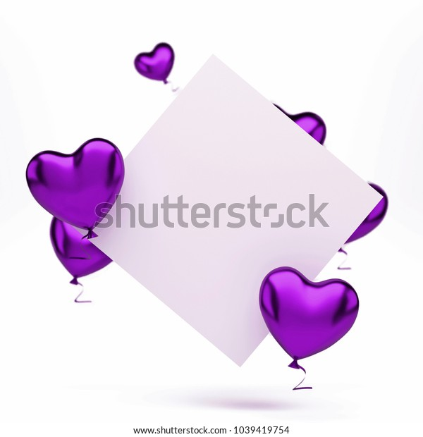 Purple metallic baloons in the shape of heart with white card on center isolated on white background. 3D illustration of holidays, party, birthday baloons