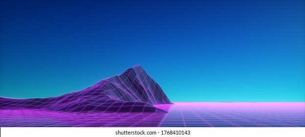 Purple neon wireframe landscape against blue sky. Cyberpunk scene. Cyberspace concept. Glowing triangular surface. Futuristic wallpaper in style of 80's. Synthwave stylization. 3d illustration.