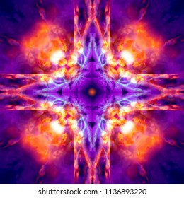 Purple and orange kaleidoscope cross background
