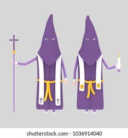 Purple Papon procession. 3d illustration
