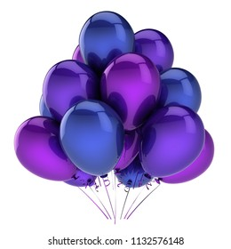 purple party balloons blue. birthday, carnival, celebrate decoration. helium balloon bunch glossy. holiday greeting card design element. 3d illustration