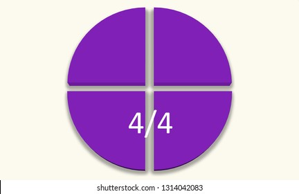 Purple pie chart. four quarters