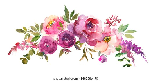 Purple Pink Blush Watercolor Floral Arrangement Isolated on White Background