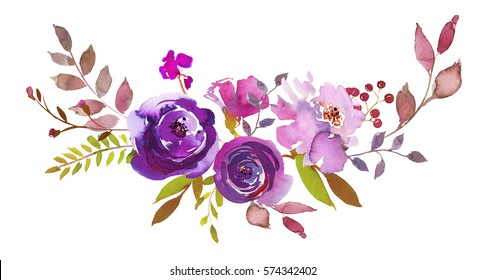 Purple pink watercolor floral bouquet drop  isolated on white background.
