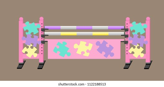 Purple, pink, yellow and green horse show jump with puzzle pieces on the jump standards and plank.