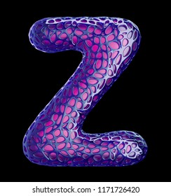 Purple plastic letter Z with abstract holes isolated on black background. 3d rendering