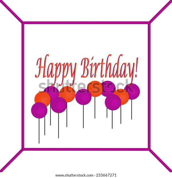 Purple And Red Happy Birthday Cake Sign With Balloons