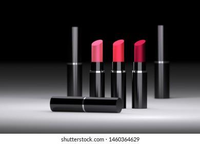 Purple, red, velvet colored lipstics packaged in black shiny tubes on black and white background. 3d illustration.