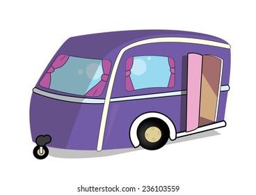 purple retro caravan.