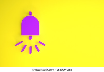 Purple Ringing alarm bell icon isolated on yellow background. Fire alarm system. Service bell, handbell sign, notification symbol. Minimalism concept. 3d illustration 3D render