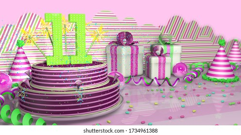 Purple round 11 birthday cake decorated with colored sparks and pink lines on a table with green streamers, party hats, gift boxes and candies on the table, on a pink background. 3D Illustration