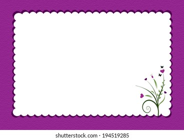 purple scalloped border with flowers used as  gift card