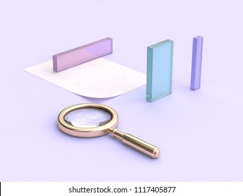 purple scene clear-glass shape gold magnifying glass 3d rendering