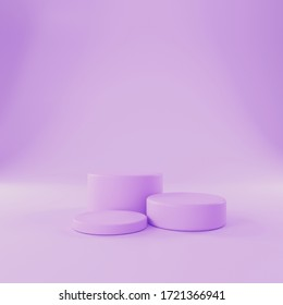 Purple shapes in pastel colors. Scene with geometric shapes. Presentation of cosmetics. 3D render.