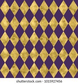 Purple and shiny gold harlequin pattern backdrop