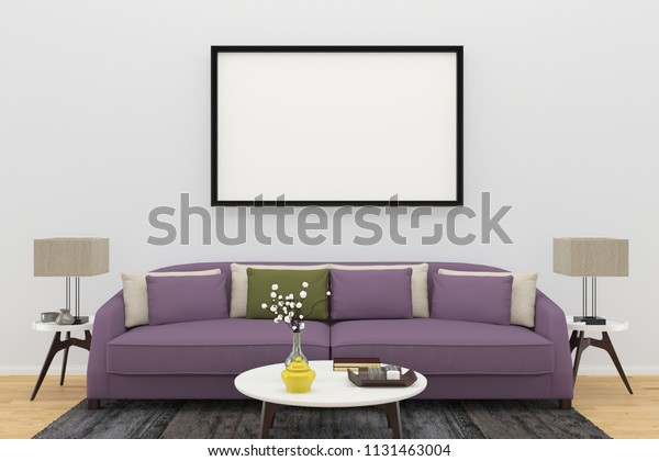 Excellent Purple Sofa Living Room Interior 3D Stock Image Download Now Theyellowbook Wood Chair Design Ideas Theyellowbookinfo