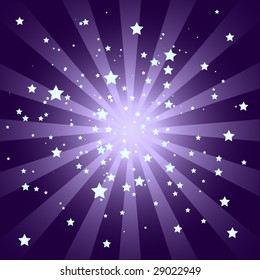 Purple Sunburst Pattern with Stars