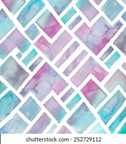 Purple and Teal Blue Geometric Watercolor Mountains Background.