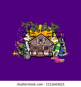 Purple Trap House Illustration for printing