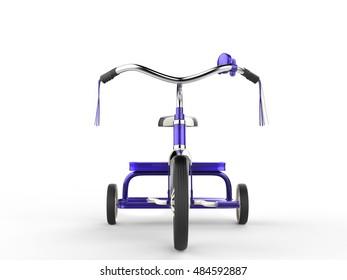 Purple tricycles - front view closeup - 3D Illustration