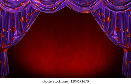 Purple velvet curtain with gold red stars on red background. 3D illustration