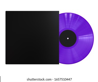 Purple Vinyl Disc Record with Black Sleeve Cover and Black Label. Colored LP Vinyl for Turntable. 3D Render Mock Up Isolated on White Background.