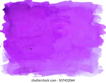 Purple Violet saturated watercolor background, luscious palette. Abstract canvas with paper texture.