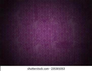 purple wallpaper illustration with victorian design, grunge background with ancient floral texture, vignette