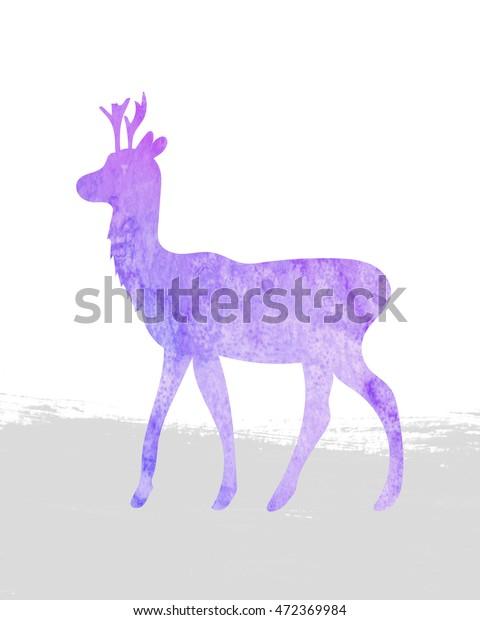 photo regarding Deer Silhouette Printable titled Crimson Watercolor Deer Silhouette Best Printable Inventory