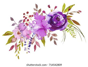 Purple Watercolor Floral Bouquet Pretty Isolated on White Background.