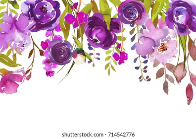 Purple Watercolor Floral Drop Isolated on White Background.
