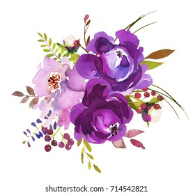 Purple Watercolor Floral Round Bouquet Pretty Isolated on White Background.