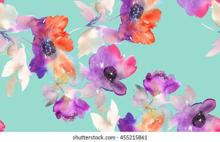 Purple watercolor flowers. Seamless pattern.