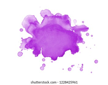 purple watercolor paint blob or blotch with paint spatter drips and drops on watercolor paper background