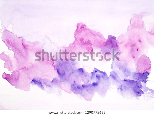 Purple Watercolor Painting Ideas Colorful Shades Stock Illustration 1290775633