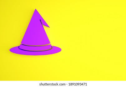 Purple Witch hat icon isolated on yellow background. Happy Halloween party. Minimalism concept. 3d illustration 3D render.