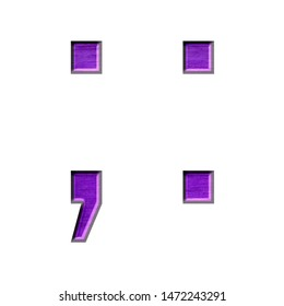 Purple wood textured semicolon and colon punctuation marks in a 3D illustration with a rich purple color and wood grain texture in a beveled edge gothic style font on white with clipping path