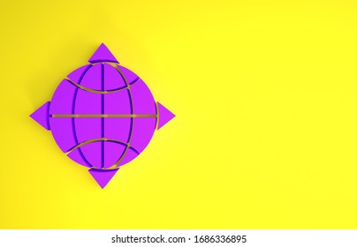 Purple World globe with compass icon isolated on yellow background. Minimalism concept. 3d illustration 3D render