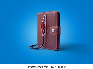 Purse as a filling station. 3d render illustration with clipping path.