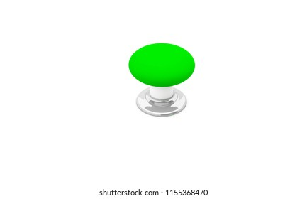 Push button green on white background 3d illustration