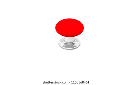 Push button red on white background 3d illustration
