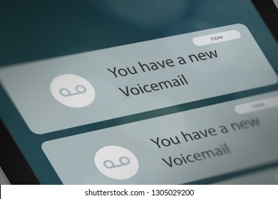 Push Notification with New Voicemail on Smart Phone. 3D illustration