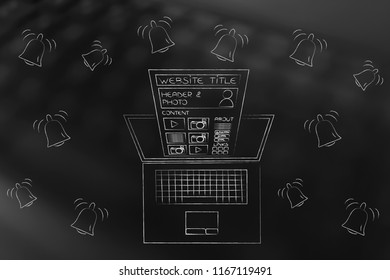 push notifications settings and marketing conceptual illustration: website popping out of  laptop screen from above surrounded by notification icons