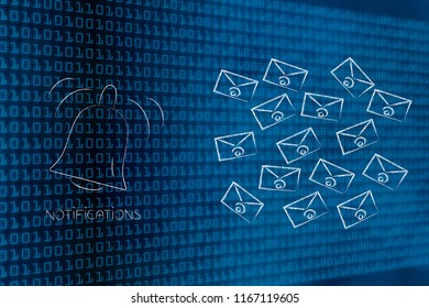 push notifications settings and marketing conceptual illustration: notification bell ringing next to group of email envelopes