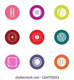 Pushbutton icons set. Flat set of 9 pushbutton icons for web isolated on white background